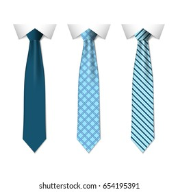 Set different blue ties isolated on white background. Colored tie for men. Vector plain illustration eps10