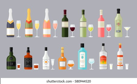 Set of different bottles of alcohol drinks with glasses