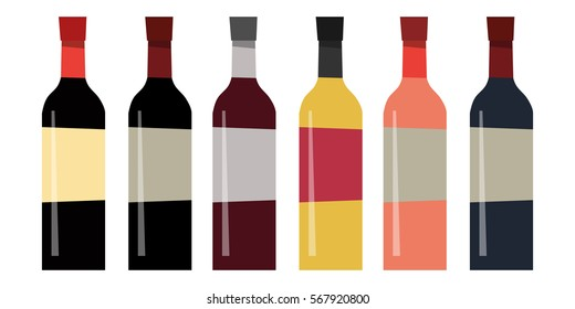 Set of different bottles of wine in flat style. The design for the liquor store. Vector illustration isolated on white background.