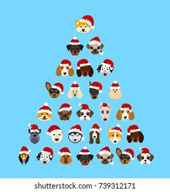 Set Different Breeds of Dogs in Hats of Santa Claus. Symbols New Year 2018 - Illustration Vector