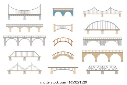 Set of different bridges. Isolated on white background. Flat style, vector illustration.
