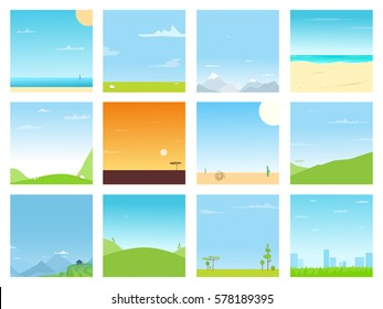 Set of different bright landscapes pictures. Nature simple backgrounds collection design. Various areas in spring or summer day. Seaside, mountains, hills, savannah, city, field view with clear skies.
