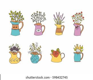 Flower Vase Drawing Stock Vectors Images Vector Art Shutterstock