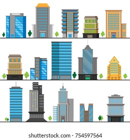 A set of different building objects. Multi-storey buildings in different designs. The concept of the construction business. Vector illustration.