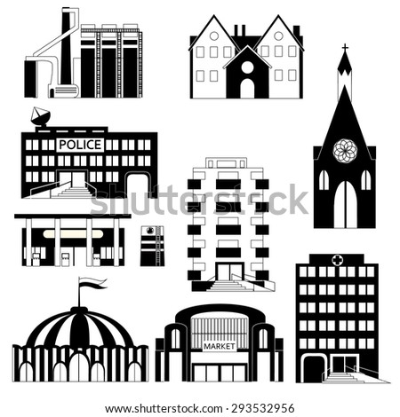 set different buildings black white colors stock vector royalty