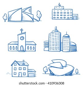 Set of different buildings, church, hospital, house, office tower, concert hall, museum. Hand drawn cartoon vector illustration.