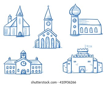 Set of different buildings, churches, school, town hall, castle. Hand drawn cartoon vector illustration.