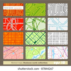 Set of different business cards. Abstract maps
