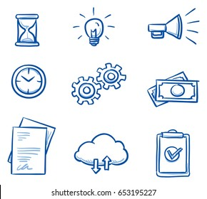 Set with different business icons, as file sharing cloud, clock and hourglass, money, checklist, documents, light bulb and gears. Hand drawn line art cartoon vector illustration.
