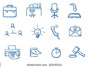 Set with different business and office icons, as chair, desk, light bulb, letter, calendar and watch for work flow charts. Hand drawn line art cartoon vector illustration.