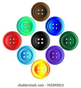 A set of different buttons isolated on a white background.