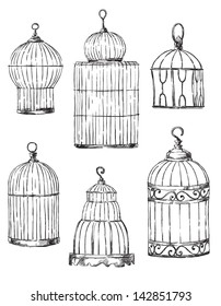 Set of different cages, hand-drawn