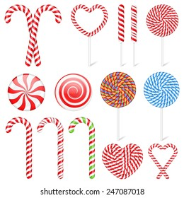 Set of different candies and lollipops, vector eps10 illustration