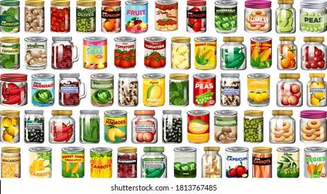 Set aus verschiedenen Dosen und Lebensmitteln in Glas, einzelne Illustration