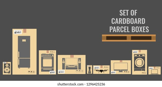Set of different cardboard boxes with different real sizes and of various household and utensil equipments. Flat vector illustration.