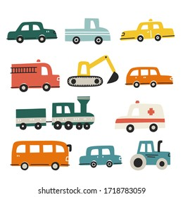 Set of different cars. Hand drawn vector illustration for kids textile design.