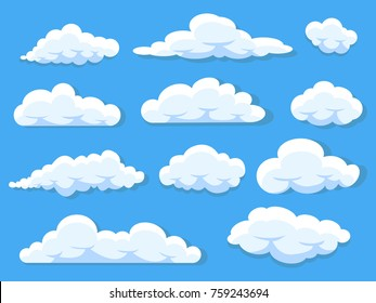 Set of different cartoon clouds isolated on blue sky panorama vector collection