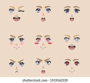 Set of different cartoon facial expressions and emotions for animation. Cute Japanese anime character, manga style girl with big eyes.