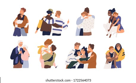 Set of different cartoon people hugging feeling love and positive emotion vector graphic illustration. Collection of friends, couple, teens and married embracing isolated on white background