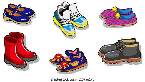 Set of different cartoon shoes, vector illustration
