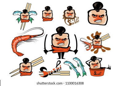 Set of different cartoon sushi elements. Cartoon sushi logo. Sushi lettering. Vector artwork.
