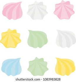 Set of different cartoon varicolored meringues. Zephyr. Dessert. Vector illustration.