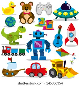 set of different cartoon vector toys