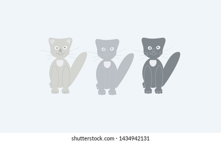 A set of different cats for cartoon, advertising. Simple modern geometric flat style. Vector illustrations.
