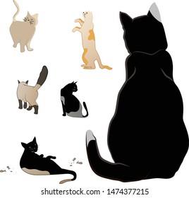 Set of different cats vector art