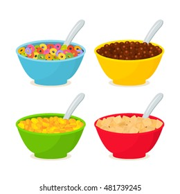 Set of different cereals and chocolate breakfast. Flat vector illustration isolated on white background