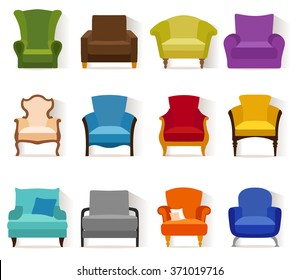 Set of different chairs in flat style. Collection of vector icons of armchairs.