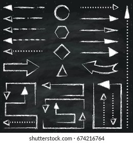 Set of different chalk arrows and geometric figures. Hand drawn illustration. Chalkboard background.