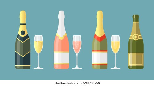 Set of different champagne bottles with glasses