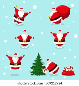 Set of different character cute Santa Claus and gifts box, bell, christmas tree. Design elements isolated on blue background for decoration banner, poster, flyer, greeting card. Cartoon style. Vector