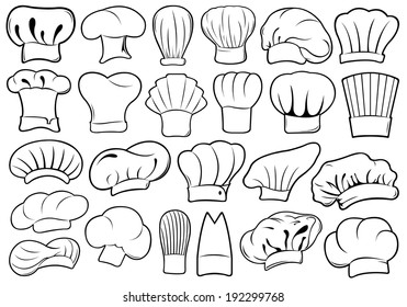Set of different chef hats