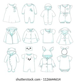 Set of different children's clothing. Can be used as clothes for paper dolls. Vector illustration in sketch style.