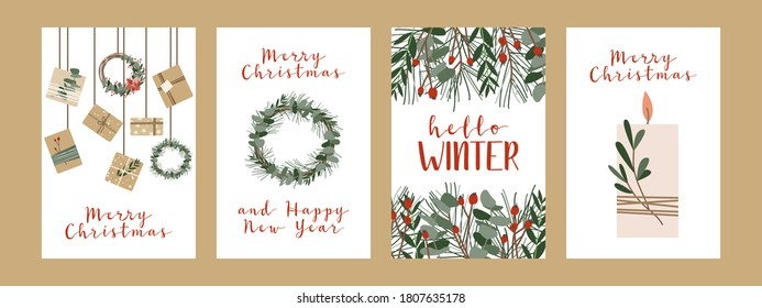 Set of different christmas cards, invitation. Presents in kraft paper, candles and wreaths. Rustic gift box. Eco decoration. Xmas and New 2021 Year celebration preparation. Vector flat cartoon style