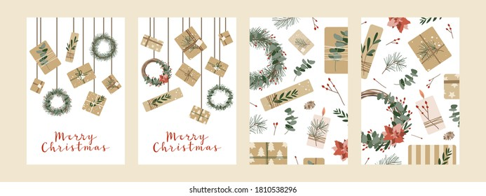 Set of different christmas cards, invitation. Presents in kraft paper and wreaths. Rustic gift box. Eco decoration. Xmas and New 2021 Year celebration preparation. Vector flat cartoon style