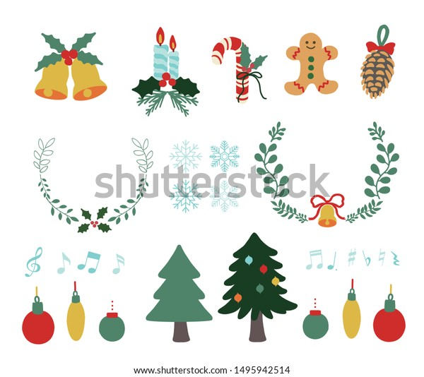 Set of different christmas objects isolated. Flat icons. Isolated vector illustration for Merry Christmas and Happy New Year.
