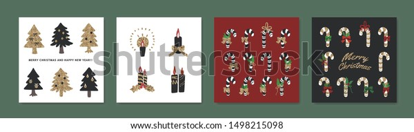 Set of different christmas objects isolated. Coloured illustration. Isolated vector illustration for Merry Christmas and Happy New Year.
