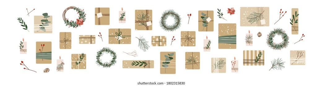 Set of different christmas presents in kraft paper with twine ribbon and wreaths. Rustic gift box. Eco decoration, eucalyptus and spruce. Xmas and New Year celebration preparation. Vector flat style