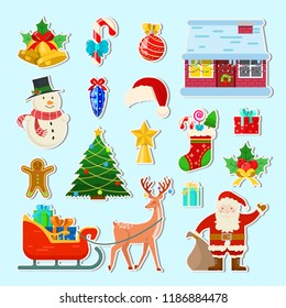 Set of different Christmas stickers on blue background
