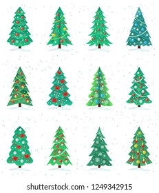 Set of different Christmas trees icon, Happy New Year concept, decorated fir, spruce, isolated on white background, vector illustration