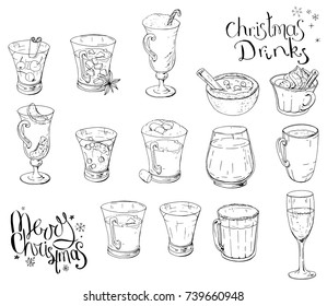 Set of different Christmas and winter drinks. Elements isolated on white for restaurant and cafe menu. Black and white, hand drawn. Calligraphy phrase Merry Christmas