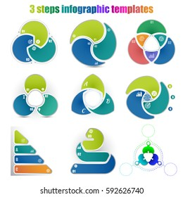 Set of different circle infographic templates 3 steps. Colorful parts and business icons. For presentation and design concept. Vector illustration.