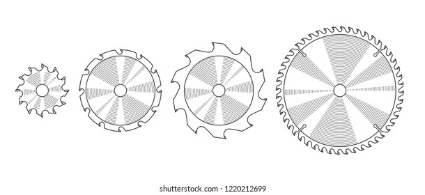 Set of different circular saw blades, vector illustration. Line drawing