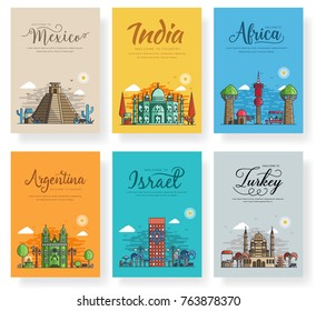 Set of different cities for travel destinations. Landmarks banner template of flyer, magazines, posters, book cover, banners. Layout architectural flat illustrations modern pages