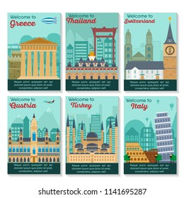 Set of different cities for travel. Landscape template flyer. Landmarks banner in vector. Travel destinations cards. Greece, Thailand, Switzerland, Austria, Turkey, Italy