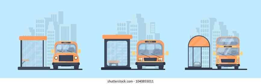 Set of different city bus stop and bus. Transport for transportation of passengers. Vector flat illustration.