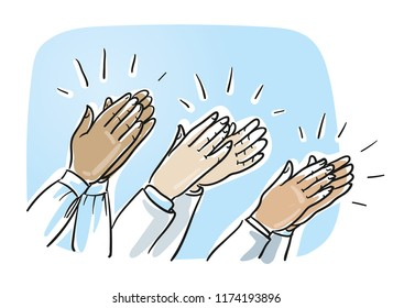 Set of different clapping hands, concept for agreement and success. Hand drawn cartoon sketch vector illustration, whiteboard marker style coloring.